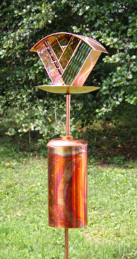 One of Artist Julie Kelly's Celebrity bird feeders with her Squirrel Baffler